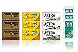3X Astra Platinum | 3X Perma-sharp Super | 3X shark super stainless | 3X Derby Extra Rasierklingen - 60er Pack