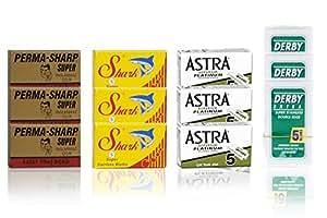 15 Astra | 15 Perma-sharp super | 15 Shark | 15 Derby extra Lames de rasage - 60 lames de rasoir