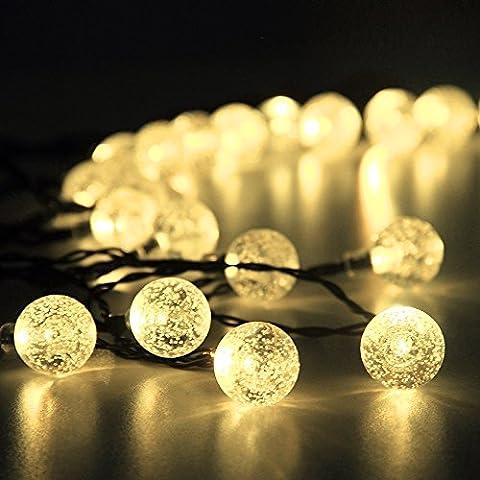 InnooTech 30er LED Solar Lichterkette Garten Globe Außen Warmweiß 6 Meter, Solar Beleuchtung Kugel für Party, Weihnachten, Outdoor, Fest Deko