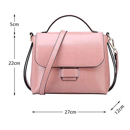 Mena UK Pacchetto di copertura del pacchetto delle borse della spalla di stile dell'annata delle donne di stile dell'annata del Faux del sacchetto di cuoio del Faux ( Colore : Nero , dimensioni : 27cm Rosa