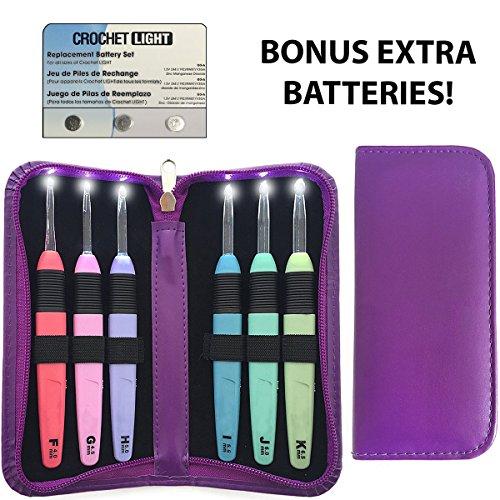 KNITISS LED Lite Haken 6 Sets Beleuchtete Häkelnadeln mit Organizer Case & Ersatzbatterien Beleuchteter Nahttrenner - Größe 4mm bis 6,5mm (Violett) (Häkelnadel Organizer)