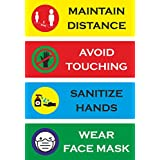 PG Creations Social Distancing, Hand Wash, Avoid Touching, Wear Mask Laminated Waterproof Vinyl Sticker, Size 4 x 12 Inch, Combo Pack of 4 Labels