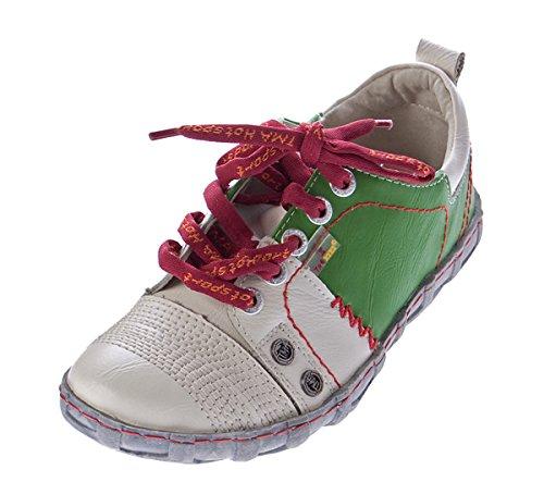 Damen Leder Halb Schuhe Sneakers Weiß Grün Used Look Comfort Turnschuhe TMA Eyes Gr. 42