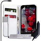 Yousave Accesories - Funda de piel con tapa para LG Optimus G Pro (incluye lápiz capacitivo y cargador para coche), color blanco