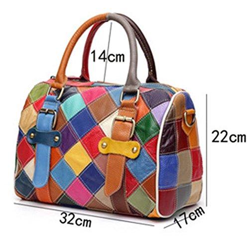 adb670b2d8a4c Greeniris Damen Handtaschen Leder Vintage Bunt Plaid Umhängetasche Hobo  Schultertasche Totes für Damen Mehrfarbig Mehrfarbig ...