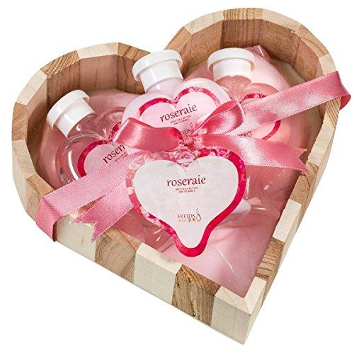 Pink Rose: Zwei Ton natur Holz Herz Korb