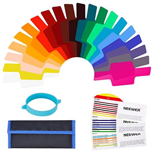 Neewer Universal Kamera Flash Gels transparent Color Correction Balance Beleuchtung Filter-Set mit Befestigung Band für Foto Studio Strobe Flash Light (20Stück)