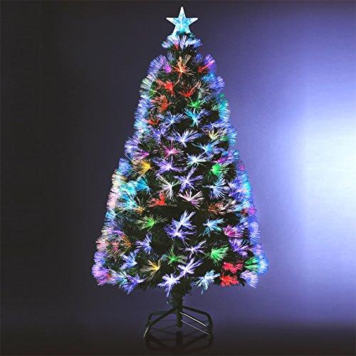 Albero di Natale 'INCANTATO' luminoso con fibra ottica - 170 LED MULTICOLORE - 8 giochi di luce - Consegnato con i piedi - Altezza 1.50 m