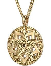 Trendsmax Hombres Ninos cadena Tono Oro Negro acero inoxidable 316L 2-Layer Celtic Pentagram Pentaculo estrella collar colgante circulo