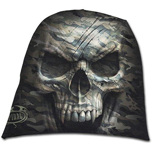 Spiral Direct Unisex Strickmütze Camo-Skull-Light Cotton Beanies Black, Schwarz, One Size