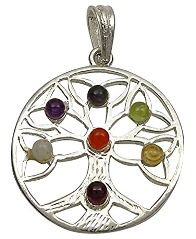 Harmonize Silver Tone Tree Of Life 7 Chakra Pendant Reiki Healing Stone Spiritual Gemstones