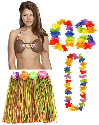 (Labreeze Damen Hula Rock 40cm 4pcs Lei Set Kokosnuss Bra Hawaiian Strand Party Fasching)