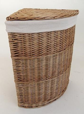 Panier à linge d'angle en osier avec habillage intérieur amovible, modèle taille moyenne Espace de rangement incurvé - couleur osier naturel