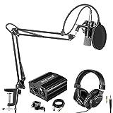 Neewer Kit di Microfono a Condensatore Professionale NW-700 & Cuffie Monitor di Monitoraggio con Alimentazione 48V Phantom, Stand Asta di Sospensione NW-35, Supporto Anti-vibrazione & Filtro Pop