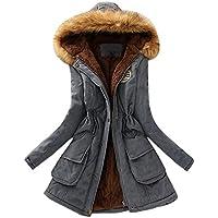 Damen Jacke Female Jacket Winter Übergangsjacke Steppjacke Outdoor Sweatjacke Kapuzenjacke Sweatshirtjacke Herbst Frühling Mantel Warm Long Coat Fur Collar Hooded Jacket Slim Parka Outwear