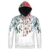 XYL HOME Hoodie,Männer und Frauen realistische 3D-Druck Farbe Regen Pullover Kapuzen Sweatshirt Hoodie große Tasche, 2XL