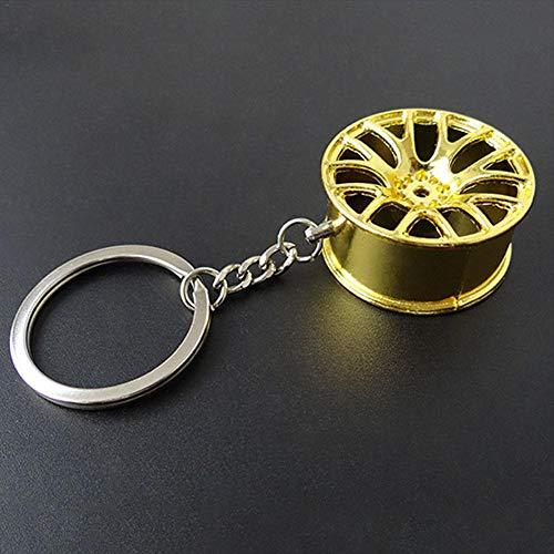 KATURN Porte-clés Creative Mini Moyeu de Roue de Voiture Auto Logos Porte-clés pièces de réparation Automobile de Voiture Mini Pneu de Roue Porte-clés, doré