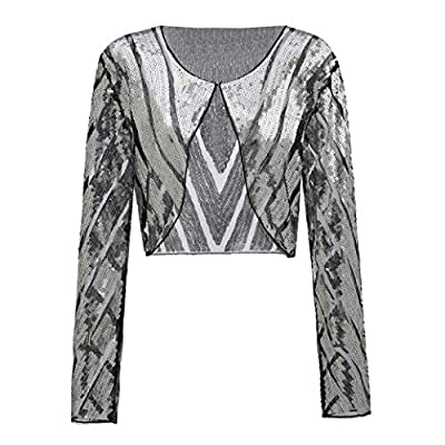 Metme Women Evening Wrap Shawl Bridal Stole 1920's Flapper Bolero Sequined Jacket Cape Cropped Shrug Cardigan