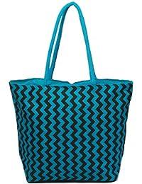 Anshika International Blue Large Jute Tote Bag Size (L) 20 (H) 14.5 (W) 7 INCHES