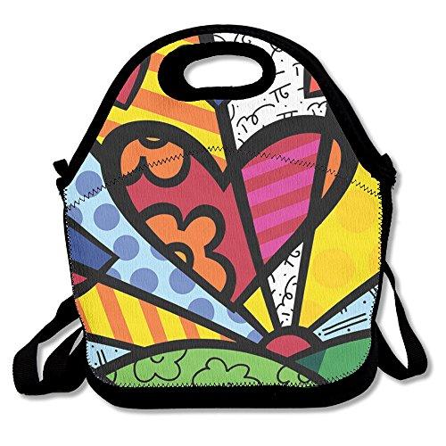 (TuJa Tag Romero Britto Lunchbox Tasche für Frauen, Erwachsene, Kinder, Mädchen, und Teen Mädchen, Schwarz, Einheitsgröße)