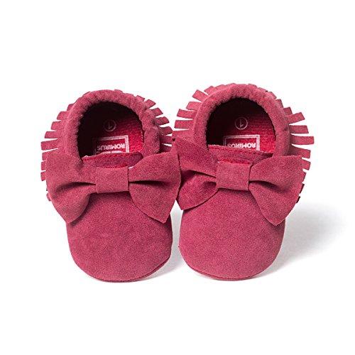 ZOEREA Super weich Rauleder Anti-Rutsch Lauflernschuhe Krabbelschuhe Babyschuhe Kinderschuhe Krippe Schuhe für Laufanfänger Baby Mädchen Jungen 0-18 Monate Dunkelrot