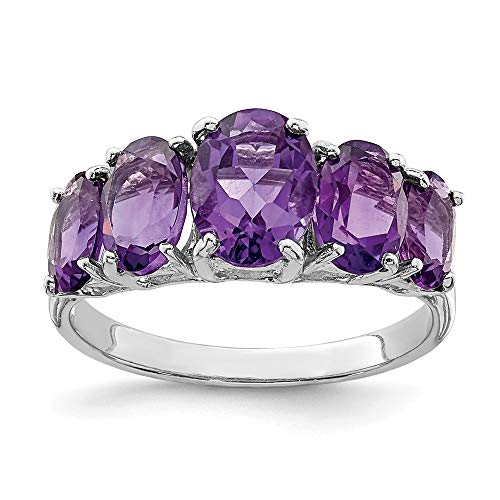 Sonia Jewels Simulated Amethyst Engagement Ring Imitation Sterling Silver 925 Purple Violet February (2 mm)