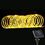 LE Manguera de luces LED Solar 100LED 12m con cable Resistente al agua Blanco cálido, decoración de jardín, terraza, Navidad