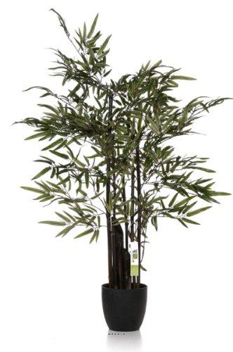 Artif-deco - Bambou zen artificiel 5 cannes noires 150cm 960 feuilles - choisissez la taille: 150 cm et 960 feuilles