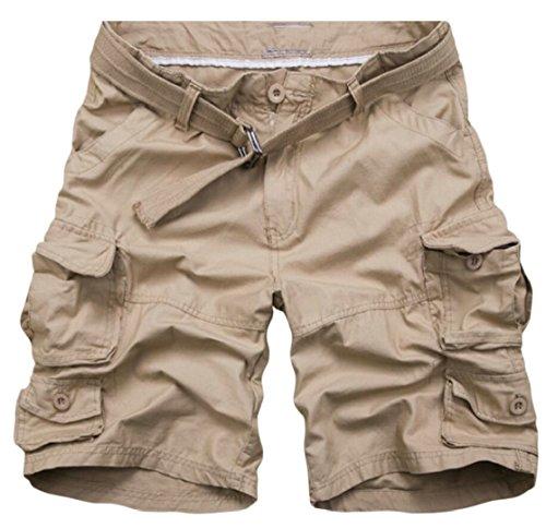 Gocgt Mens Leisure Slim Cotton Camo Multiple Pockets Cargo Pants Short
