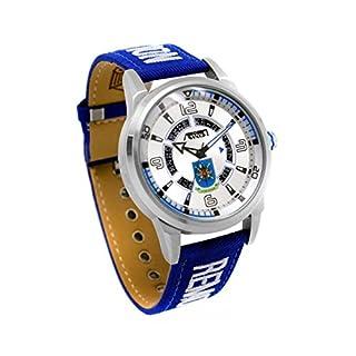 Uhr Fliegermütze av-1089–3Herren Piloten Armbanduhr 10ATM full Calendar Acar, bestickt RBF mit Metallic Ziffernblatt und Armband Blau in Nylon und Leder, Box von 44mm und gehärtetes Mineralglas