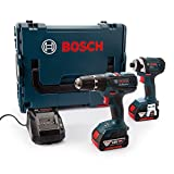 Bosch Professional GSB 18-2-LI Cordless Combi Drill + GDR 18-LI Cordless Impact Driver with Two 18 V 4.0 Ah Lithium-Ion Batteries - L-Boxx