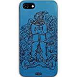 Inkad Apple iPhone 7 Pure Maple Wood in Dude on Hoverboard Laser Engraved on Mobile Case Cover (Blue)
