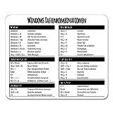 Mauspad mit Windows Tastenkombinationen I 24 x 19 cm I Mousepad in Standargröße, Rutschfest I...