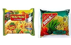 Wai Wai instant Noodle vegetable flavor 65gm X 20 pkts & Koka instant noodle vegetable flavor 85g X 5 pkts (COMBO)