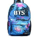 Kingmia BTS Bangtan Boys Rucksack Daypack 3D Digital Gedruckt Leinwand Schulter Rucksack Laptop Notebook Rucksack Verursacht Handtasche für Die Reise Schule (Blau3)
