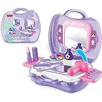 Romote Kinder Pretend Play Makeup Vanity-Kasten mit Spiegel Kosmetik Spielzeug-Set Pretend Beauty Dress-up Salon Hair Dryer Koffer für Kleine Mädchen Kleinkinder 1 Satz von 19 Stück