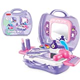 Romote Bambini Finta Play vanità di Trucco di Caso con Specchio cosmetico Toy Set Pretend Beauty Salon Dress-up Asciugacapelli Valigia per Le Bambine più Piccoli 1 Set di 19 pc