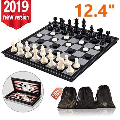 Rasse Schachspiel, 3 in 1 Magnetisches Schachbrett-Set, 31.5CM x 31.5CM Faltschachbrettspiel-Sets mit Schach Backgammon Checkers, bewegliches Reiseschach-Set Traditionelles Schachspiel - Freien Board Buchstaben Im