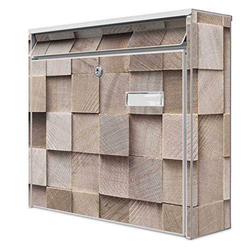 Burg Wächter Design Briefkasten   Postkasten 36 x 32 x 10cm groß   Stahl weiß verzinkt mit Namensschild   großer A4 Einwurf, 2 Schlüssel   Motiv Bauklötze Relief   mit weißem Ständer