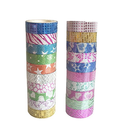 uesae Klebeband Papier Washi Tape Masker Klebeband Glitzer Aufkleber Klebeband Rolle Satinband DIY Dekorative Cute Colorful für Kinder Studenten DIY Aufkleber Klebeband Scrapbook PCS10 1,5 cm * 3 m