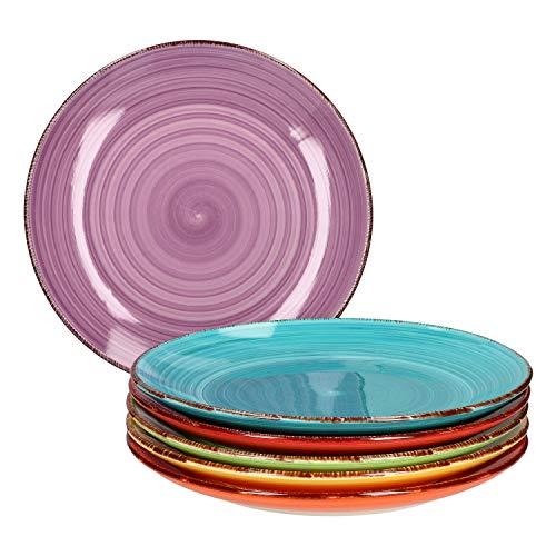 MamboCat Set de 6 assiettes plates unies multicolores Assiettes de service rondes Vaisselle en porcelaine Passe au four 6 couleurs
