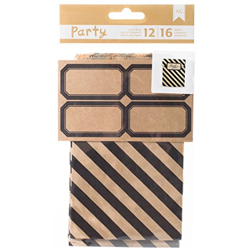 DIY Party Treat Bags & Labels-Black & Kraft