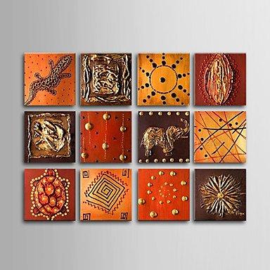 WSS dipinto a mano olio su tela con telaio allungato animali - set di 12