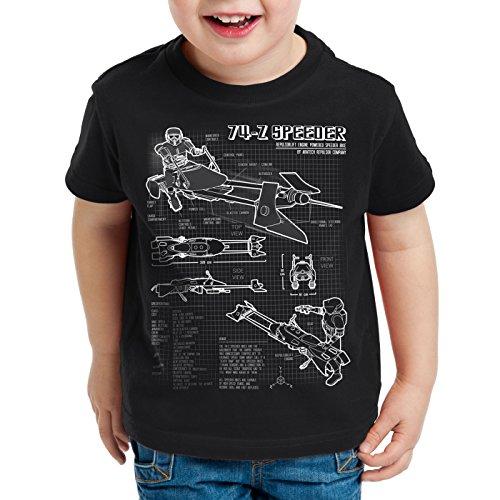 style3 74-Z Speeder Bike T-Shirt für Kinder blaupause endor, Farbe:Schwarz;Größe:164