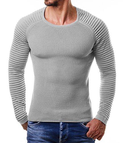 EightyFive Herren Feinstrick-Pullover Gerippt Streifen Weiß Blau Schwarz EF1695, Größe:L, Farbe:Grau (Pullover Ärmel Gerippte)