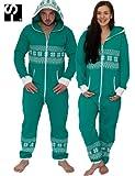 Damen Unisex Einteiler/– grün–Loungewear–Slouch Tasche Gr. X-Small, Grün - Grün/Weiß