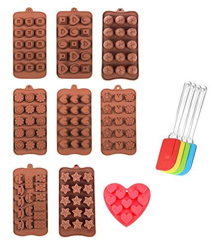 10er Set Silikon Backform Schaber Pralinenform Schokoladenform