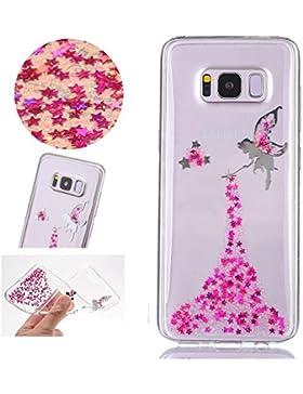 Sycode Galaxy S8 Glitzer Hülle,Galaxy S8 Handyhülle,Transparent Crystal Glitzer Bling Rose Rot Fee Fairy Mädchen...