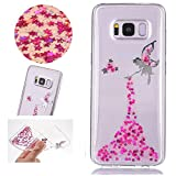 Sycode Coque Galaxy S8 Plus,Galaxy S8 Plus Coque Silicone Étui Ultra Mince Housse,Luxe Bling Glitter Sparklers Cristal Transparent Beau Rose Fée Fairy Modèle Conception TPU Silicone Soft Crystal Clear Etui Housse Premium Strass Case Cover de Protection Bumper pour Samsung Galaxy S8 Plus