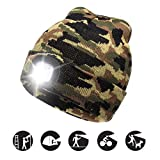 ATNKE LED Lighted Beanie cap, USB Running Hat Ricaricabile Ultra Bright 4 LED Waterproof Light Lampada e Allarme Lampeggiante Proiettore Camouflage Green